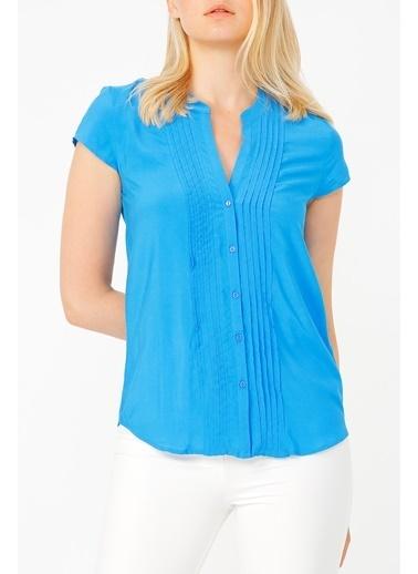 Random Kadın Kısa Kollu V Yaka Gömlek Mavi